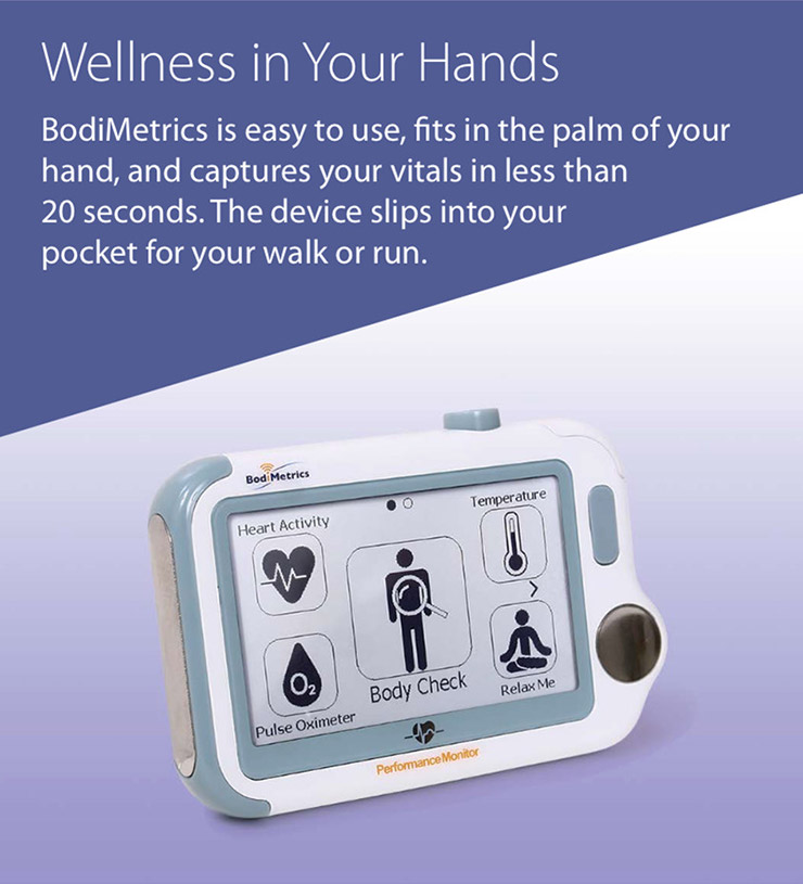 Portable vital signs & patented health index for indicators